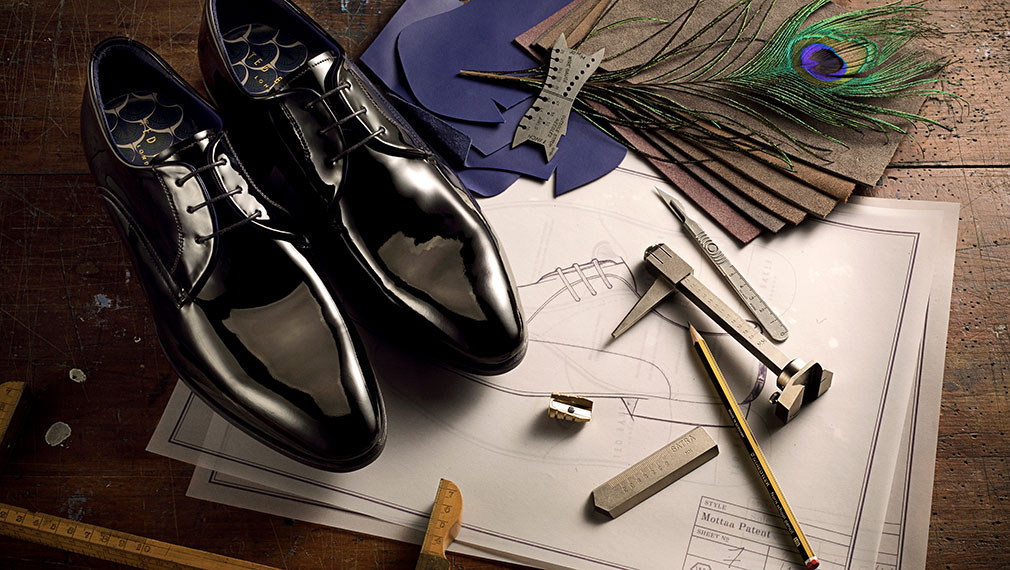 d554464176c173 Campaign photography for luxury men s Ted Baker leather shoes in a  traditional workshop