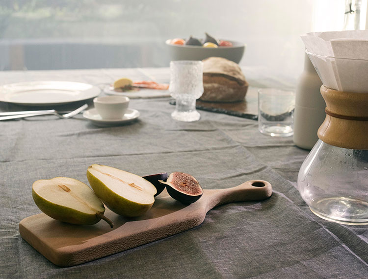 Food photography of a breakfast of fresh figs and pears